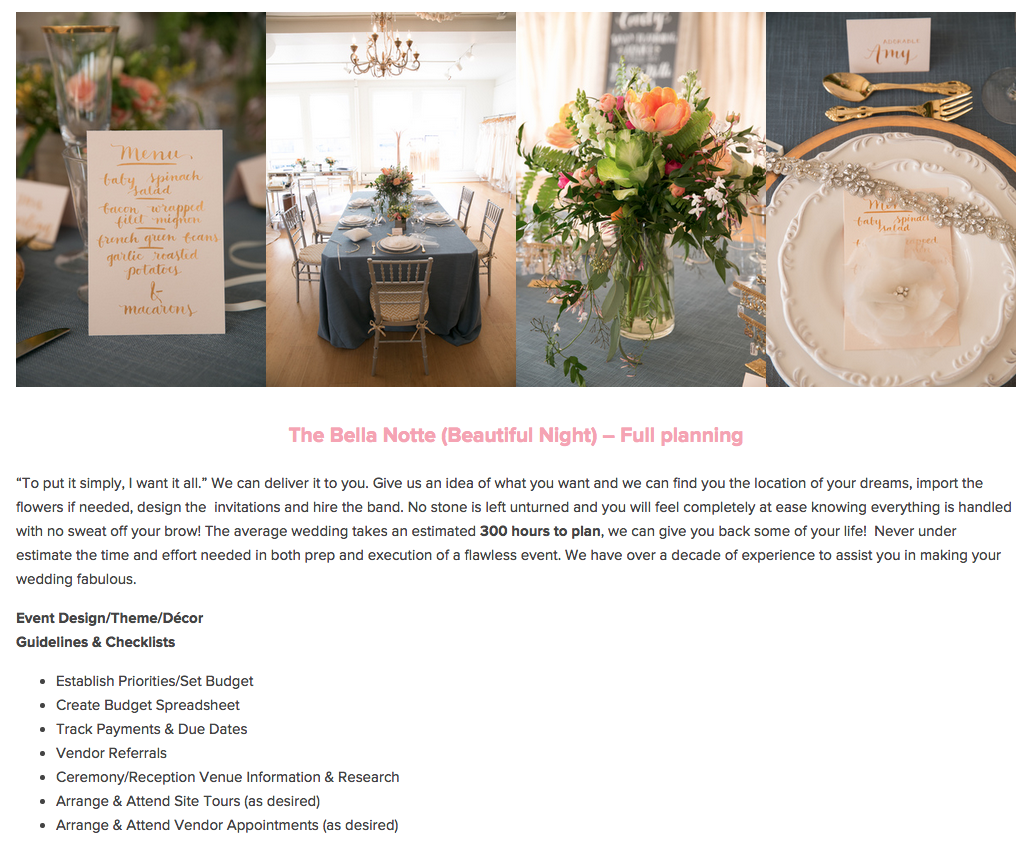 Website Design by Heather Sharpe of The Editor's Touch | Bella Notte Events in San Francisco