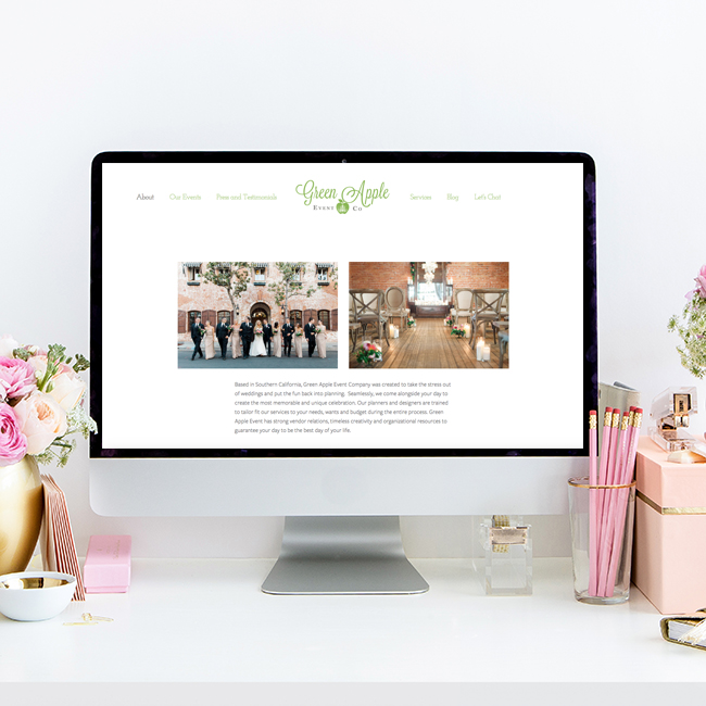 Website Design by Heather Sharpe | The Editor's Touch | Green Apple Event Company