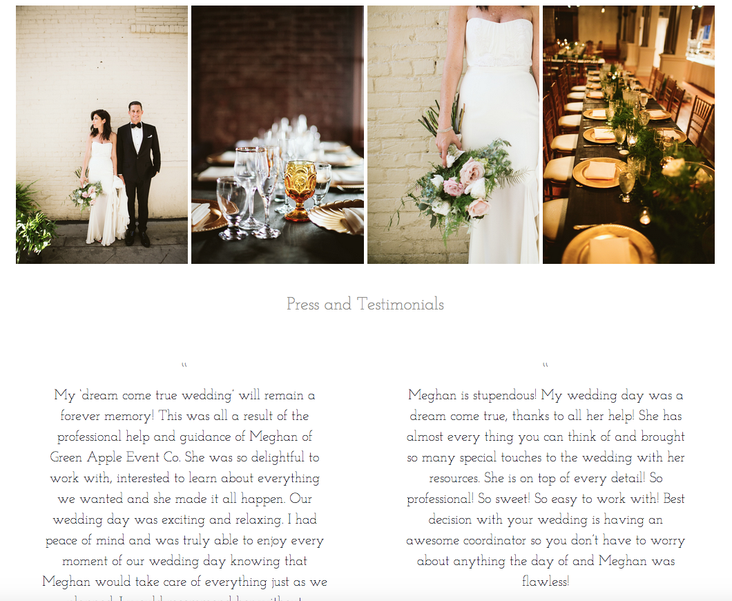 Green Apple Event Company Website Design by Heather Sharpe | The Editor's Touch