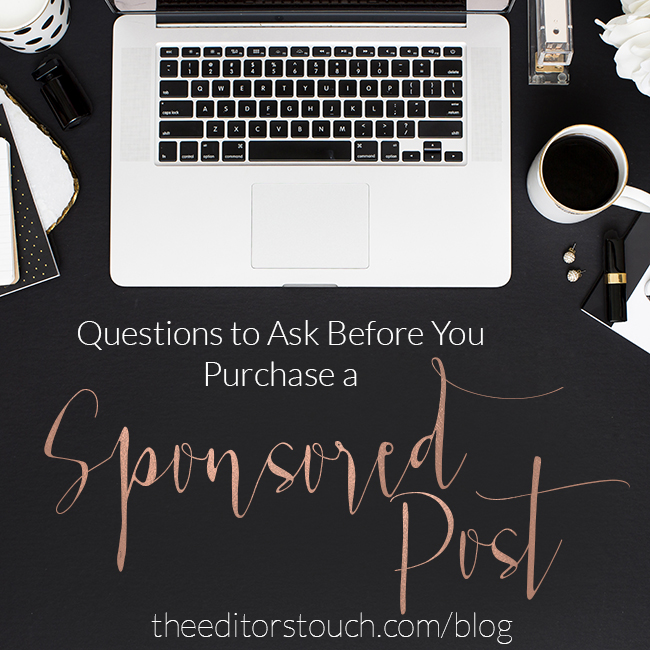 Questions to ask about Sponsored Posts | What to consider before purchasing a sponsored post