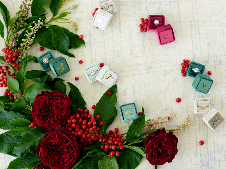 The Mrs. Box | Velvet Engagement Ring Boxes | Props for a Wedding Shoot | The Editor's Touch
