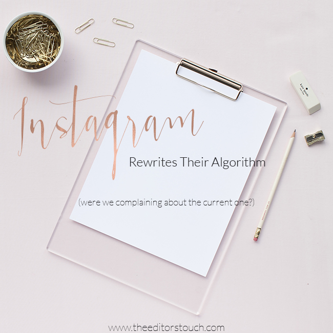 On December 15th I had a theory that I hoped would never come true: that one day Instagram would follow the rest of our social media channels and change their algorithm ... and that day is here.  Instagram has announced that in the coming months their new algorithm will roll out and you will start to only see things they *believe* you care about.
