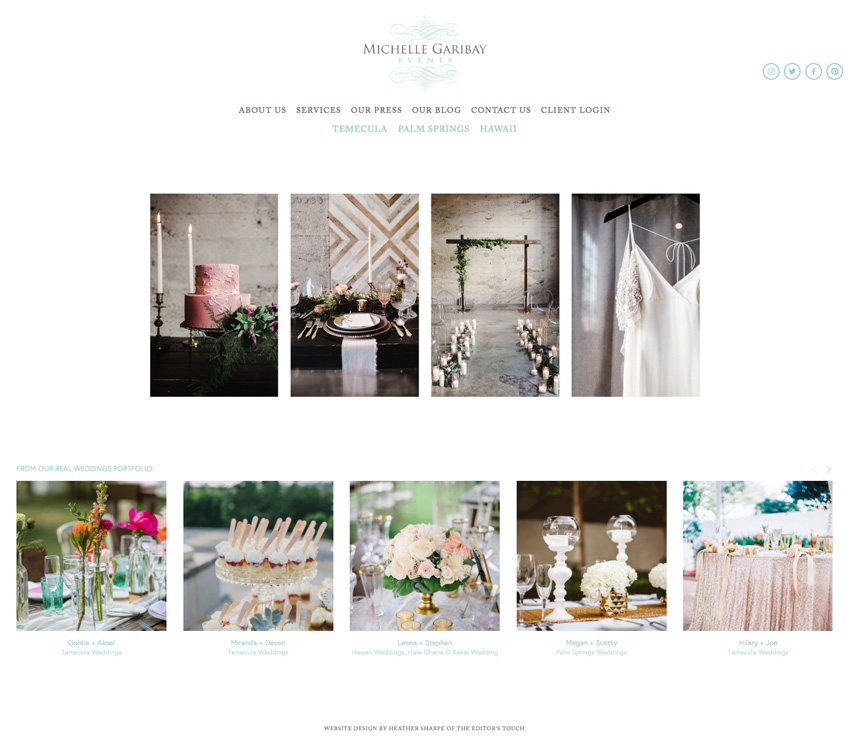 theeditorstouch.com | Michelle Garibay Events Website Designer | The Editor's Touch | Squarespace Web Design