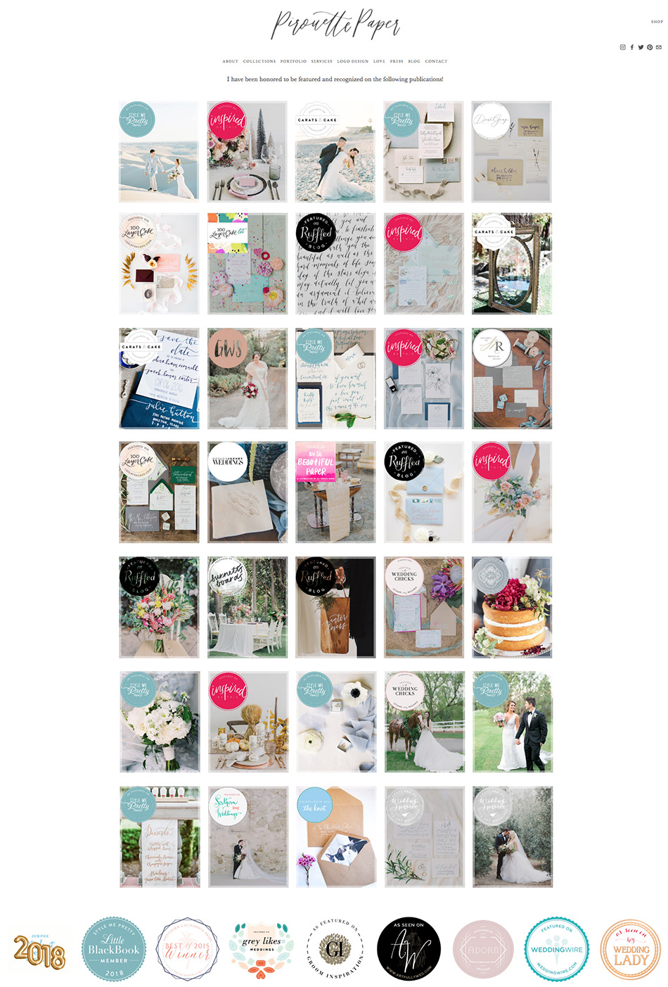 Press Page Design Ideas | Squarespace Website Designer | Wedding Industry Experts | The Editor's Touch
