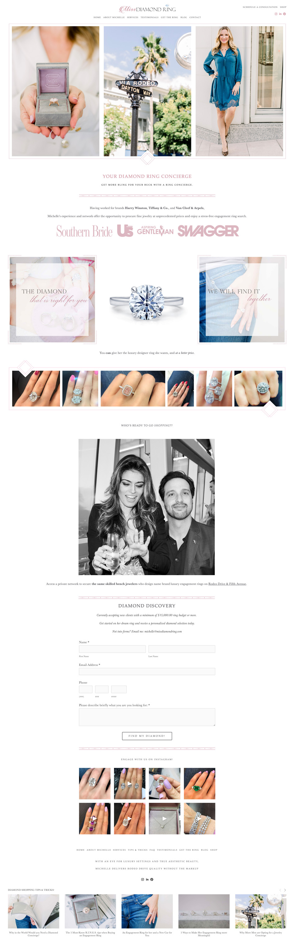 Beverly Hills Diamond Engagement Ring Concierge | Miss Diamond Ring | The Editor's Touch Squarespace Website Designer