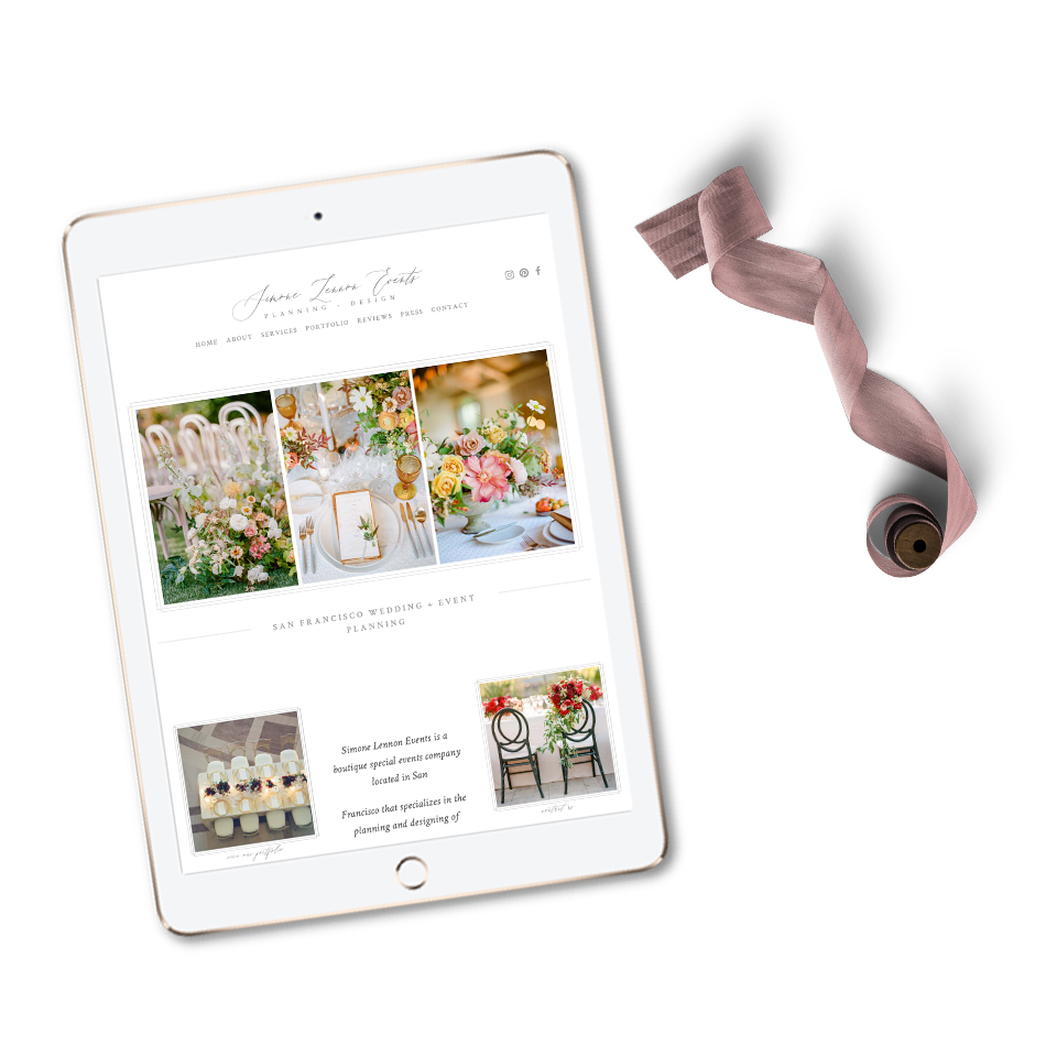 The Editor's Touch Website Designer for Wedding Industry Professionals | Squarespace Web Design Templates | San Francisco Planner Simone Lennon Events