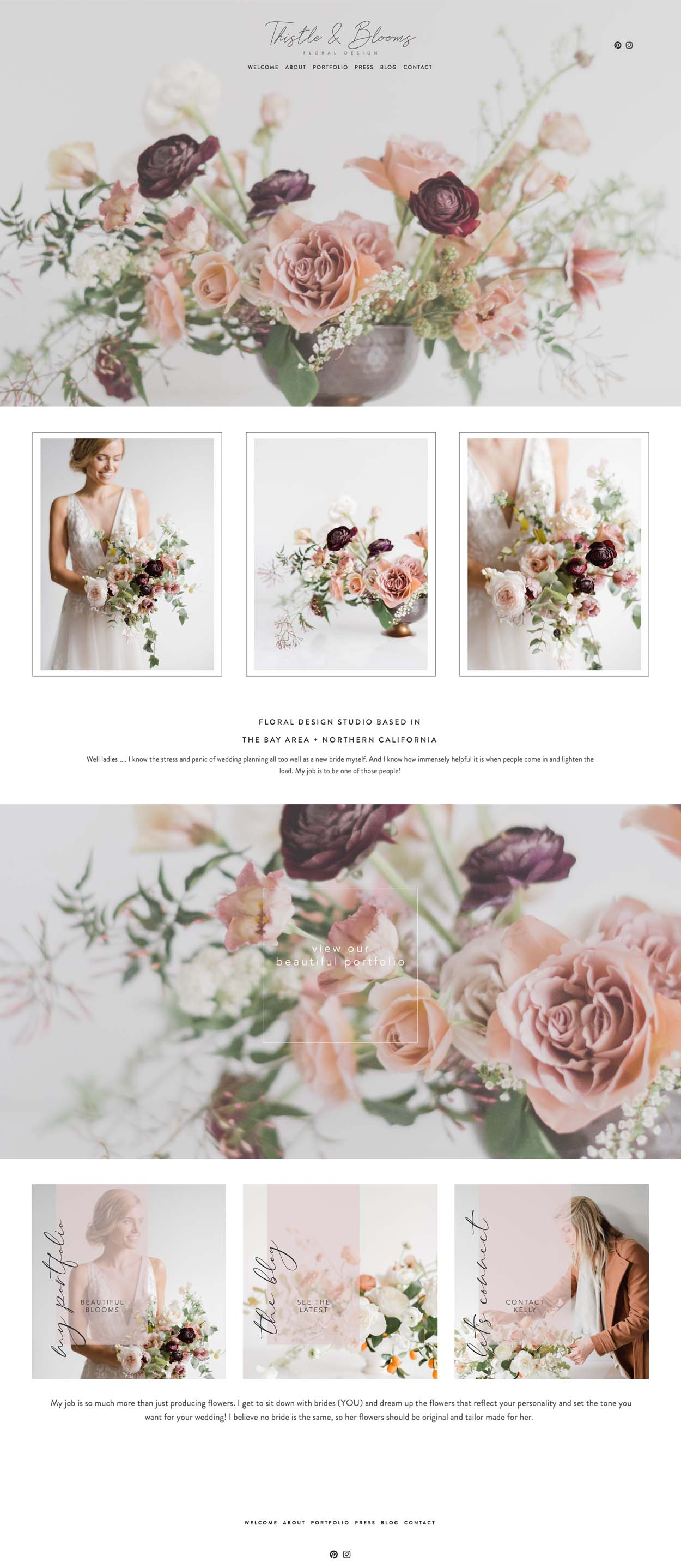 Squarespace Website Designer | Wedding and Event Florist in Northern California | Web Design For Thistle and Blooms | The Windsor Template by The Editor's Touch