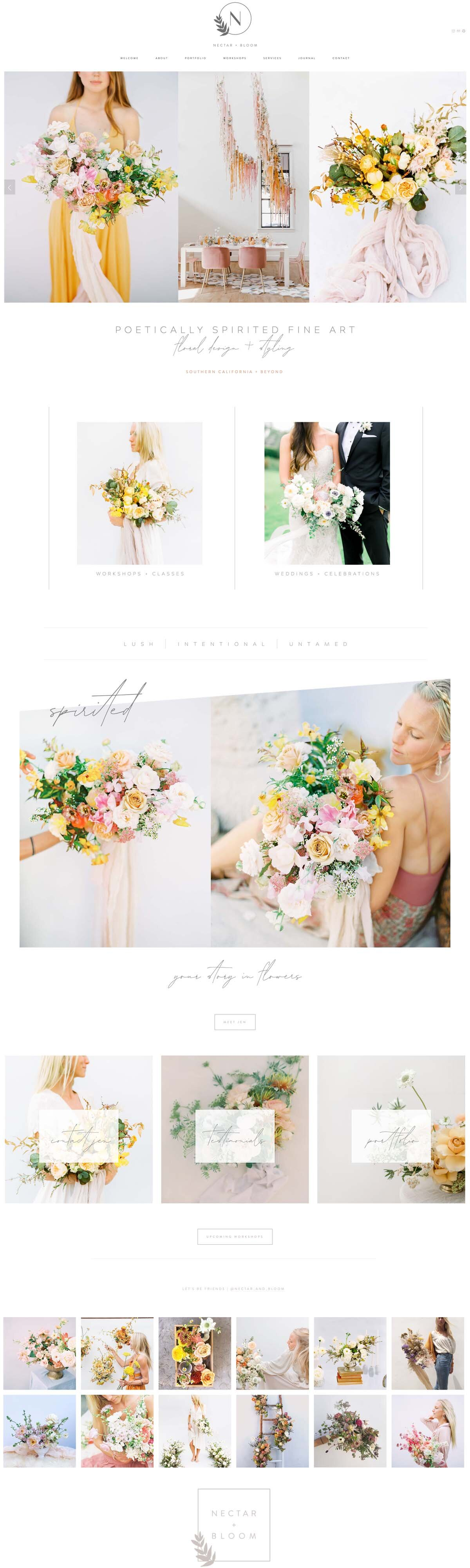 Nectar and Bloom Floral Design San Diego Website Designer | The Editor's Touch | Southern California Florist