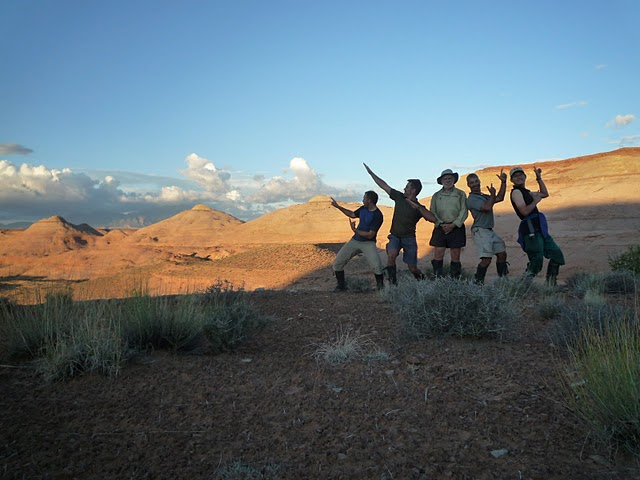 Hamming it up at sunrise on the mesa NASA-Astronaut Candidates Leadership Training Dirty Devil, Utah