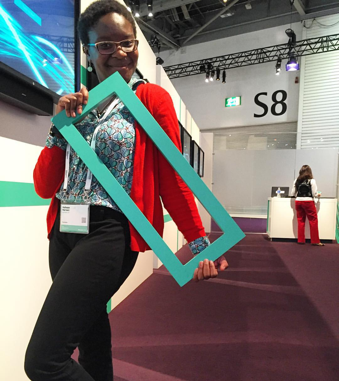 Me holding the new HPE logo