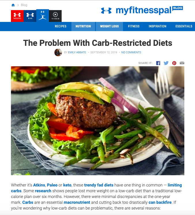 myfitnesspal   The Problem With Carb-Restricted Diets   Sept 2019