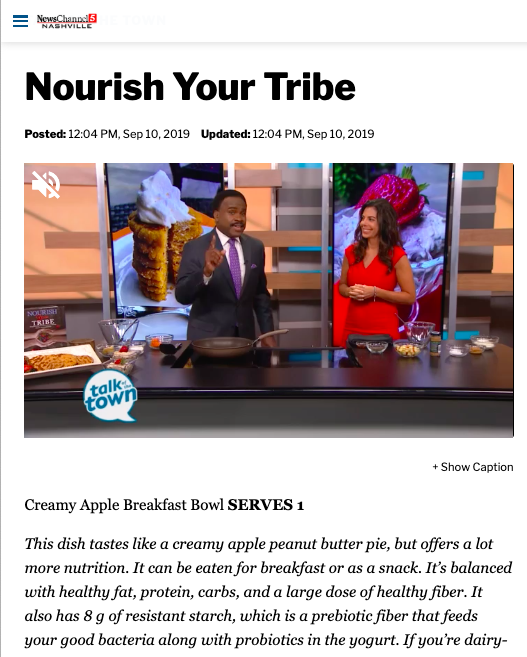 NewsChannel5 Nashville   Talk of the Town: Nourish Your Tribe   Sept 2019