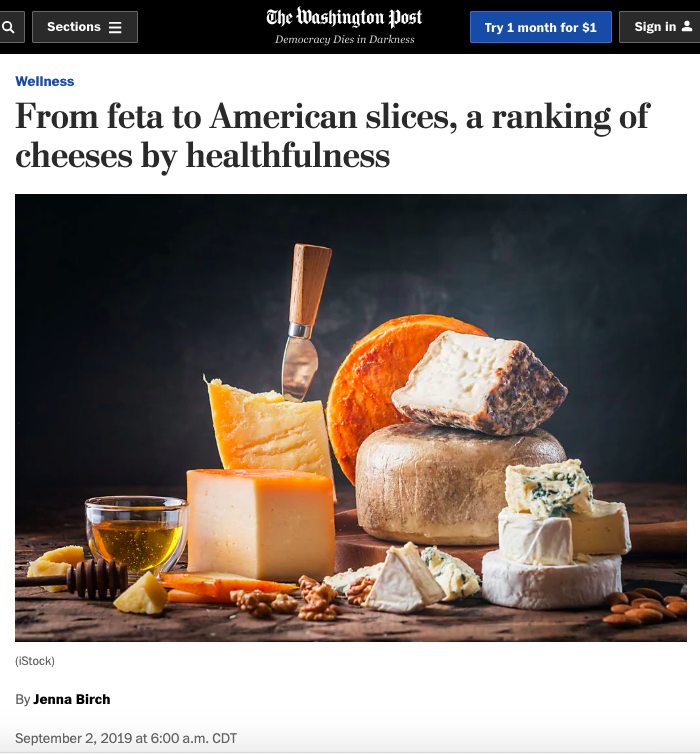 The Washington Post   Wellness  From feta to American slices, a ranking of cheeses by healthfulness   Sept 2019