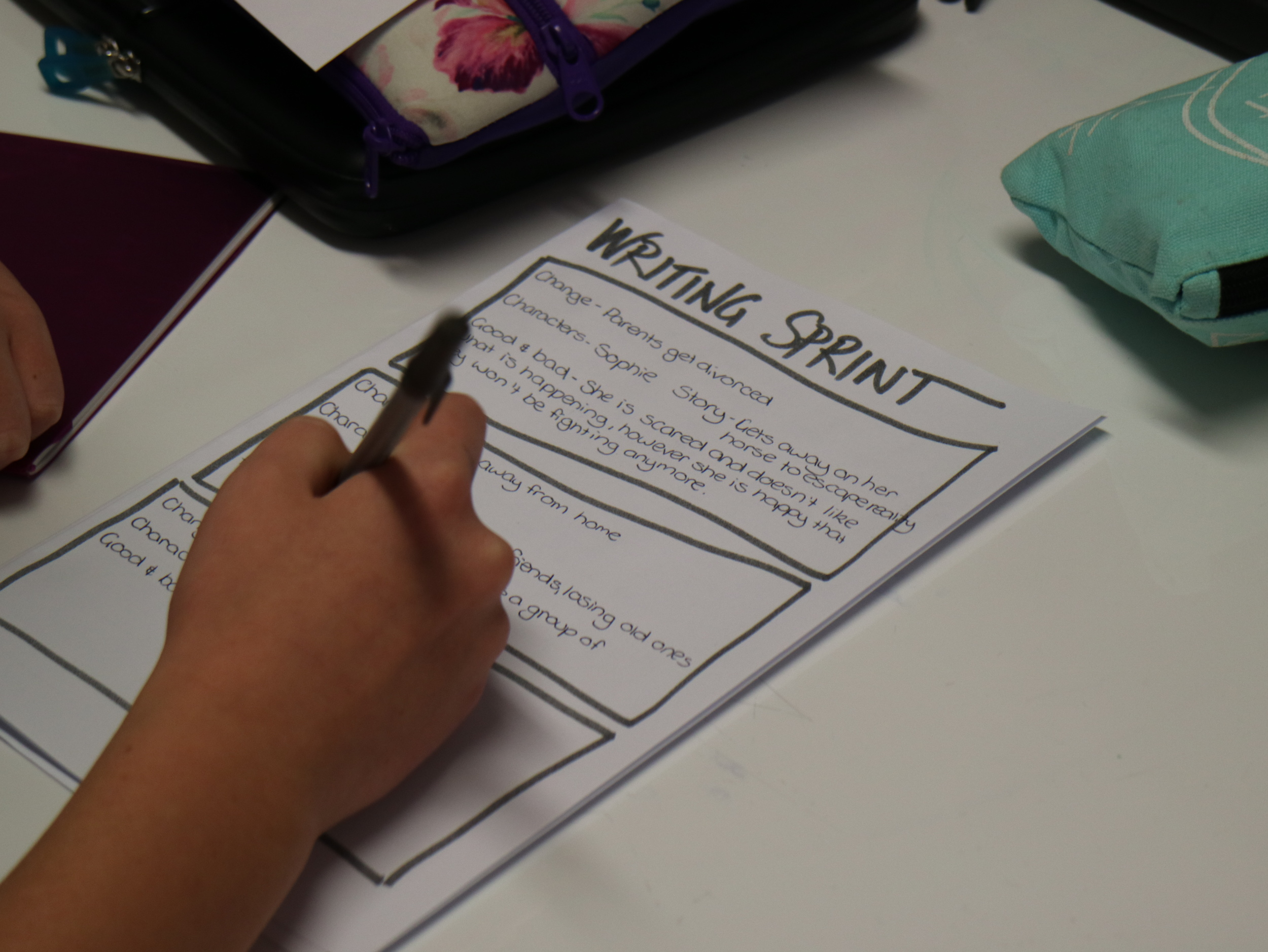 Quick writing sprints help students to get their ideas onto paper.