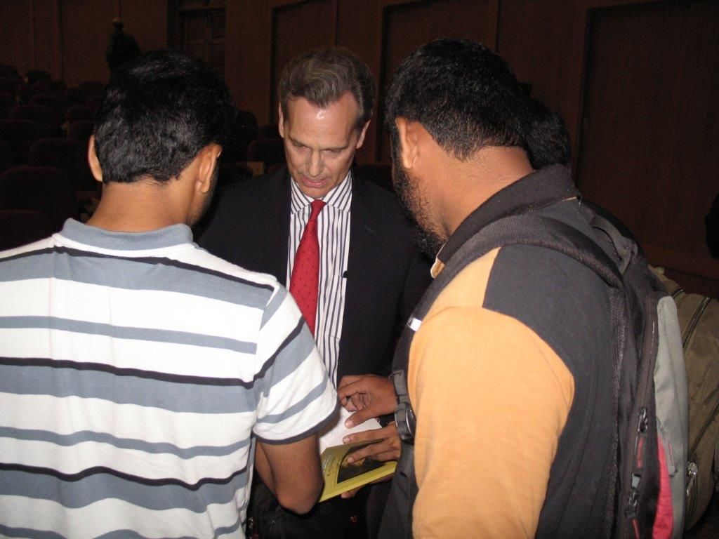 David Wiebers, M.D., and students during  Q&A session after the Theory of Reality presentation   at Mangalore University.