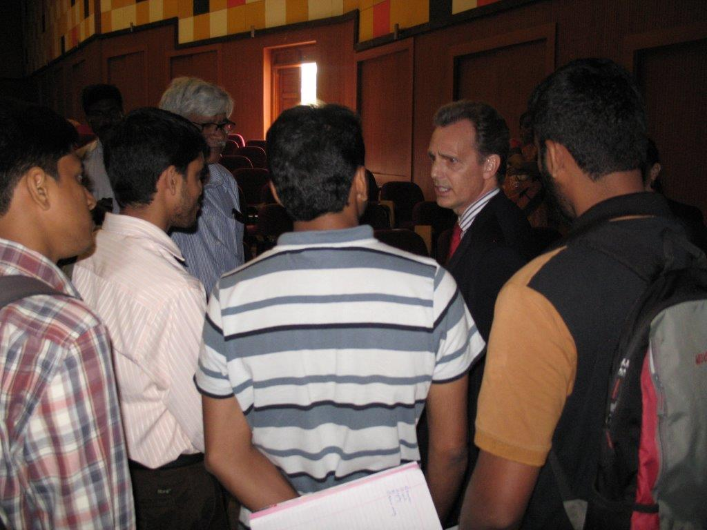 David Wiebers, M.D.,   during Q&A session after the Theory of Reality presentation at Mangalore University.
