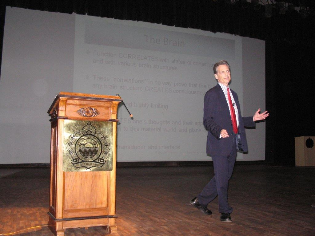 David Wiebers, M.D., presenting Theory of Reality lecture at Mangalore University.