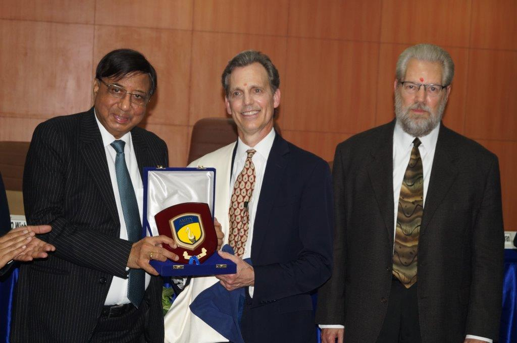 David Wiebers, M.D., awarded Honorary Professorship at Amity University by Amity Chancellor Dr. Ashok Chauhan on November 9, 2015.