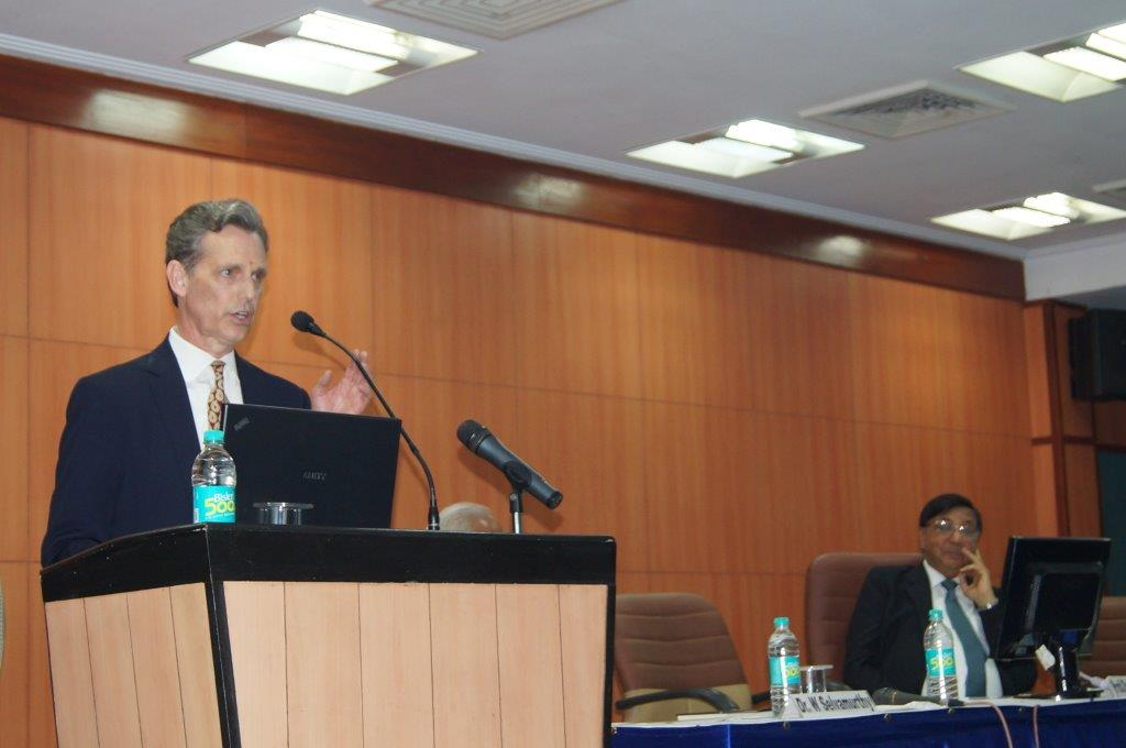 David Wiebers, M.D.,delivering Theory of Reality presentation at Amity University Delhi campus on November 9, 2015.