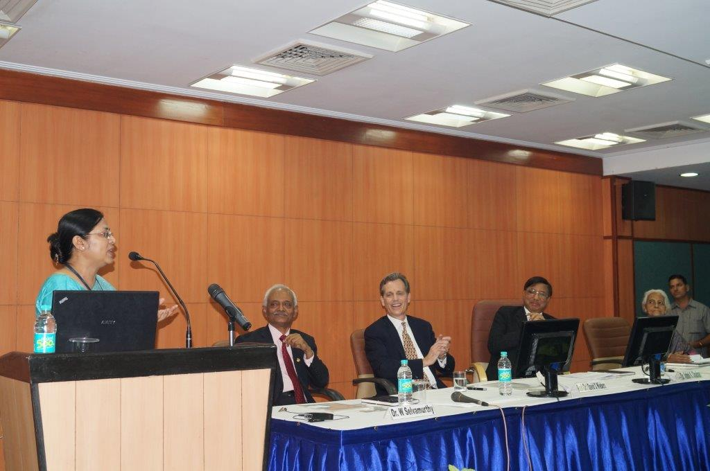 David Wiebers, M.D., being introduced at Amity University Delhi campus to deliver his Theory of Reality presentation on November 9, 2015.
