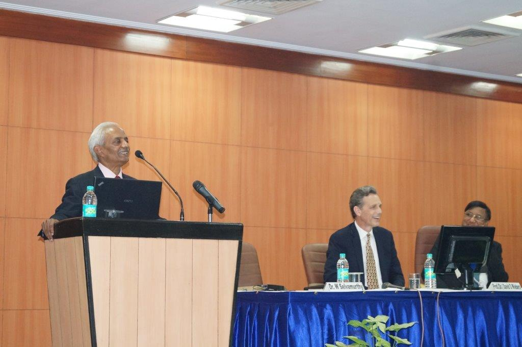 Amity University President, Dr. William Selvamurthy, Dr. David O. Wiebers, and Amity University Chancellor, Dr. Ashok Chauhan on November 9, 2015.