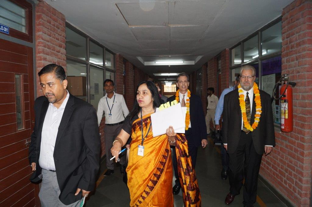 David Wiebers, M.D., touring Amity University Delhi campus on November 9, 2015.