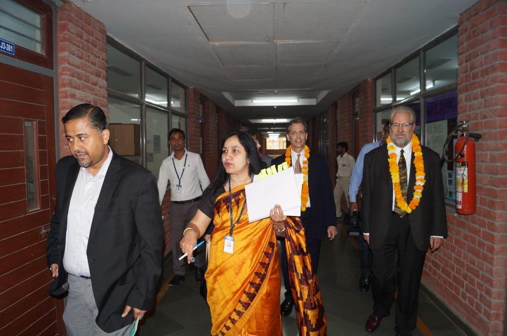 David Wiebers, M.D., touring Amity University Delhi campus on November 9, 2015.