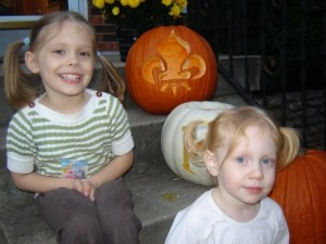 girls and pumpkins