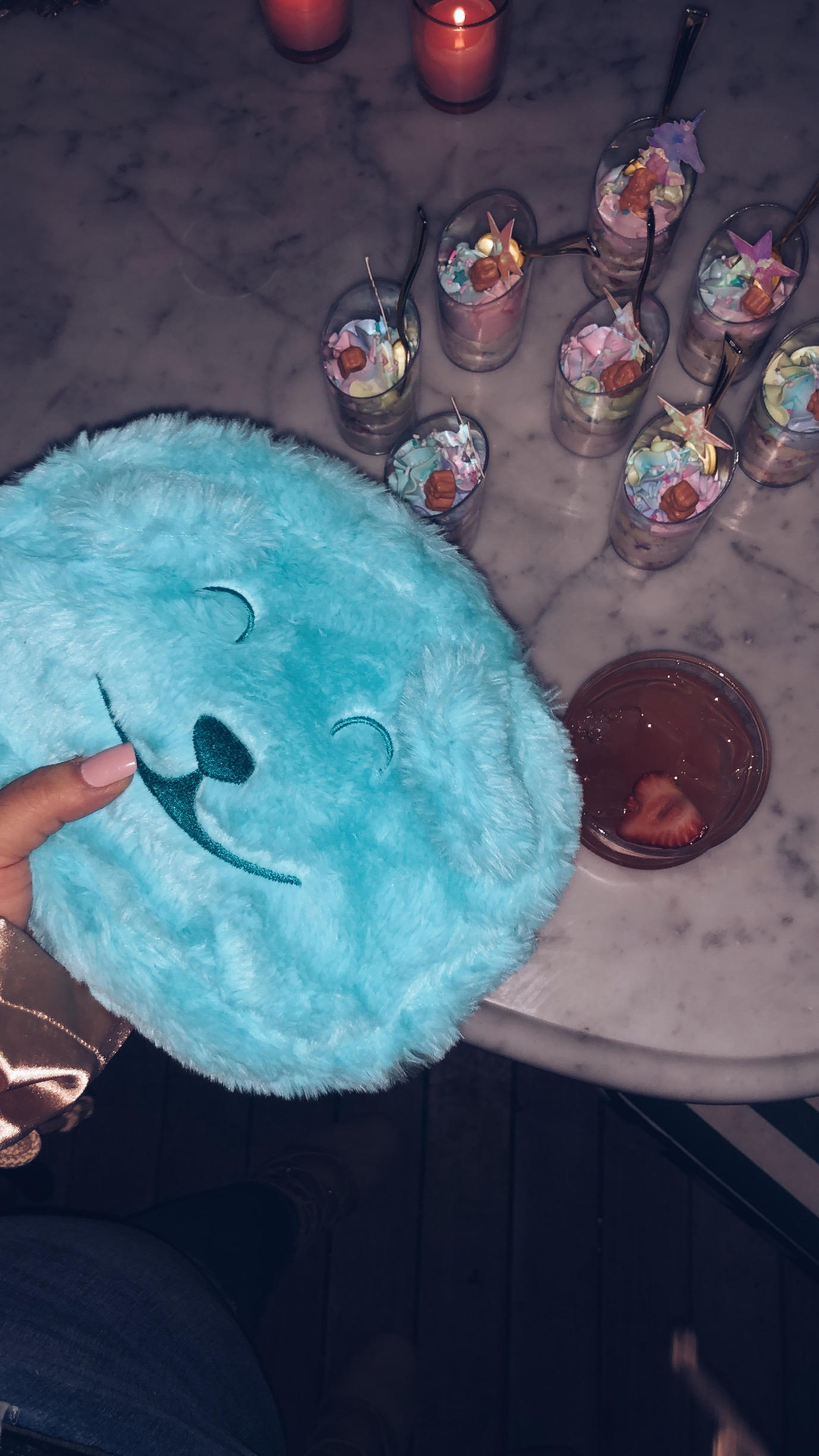sweets treats and drinks with my fizzy Sugar Bear Hair clutch
