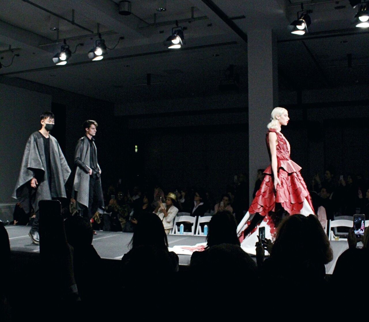Vegan Fashion weeks closing look. Red dress by  Matea Benedetti . Followed by capes from  Chris Stylez  brand  Mistohn .