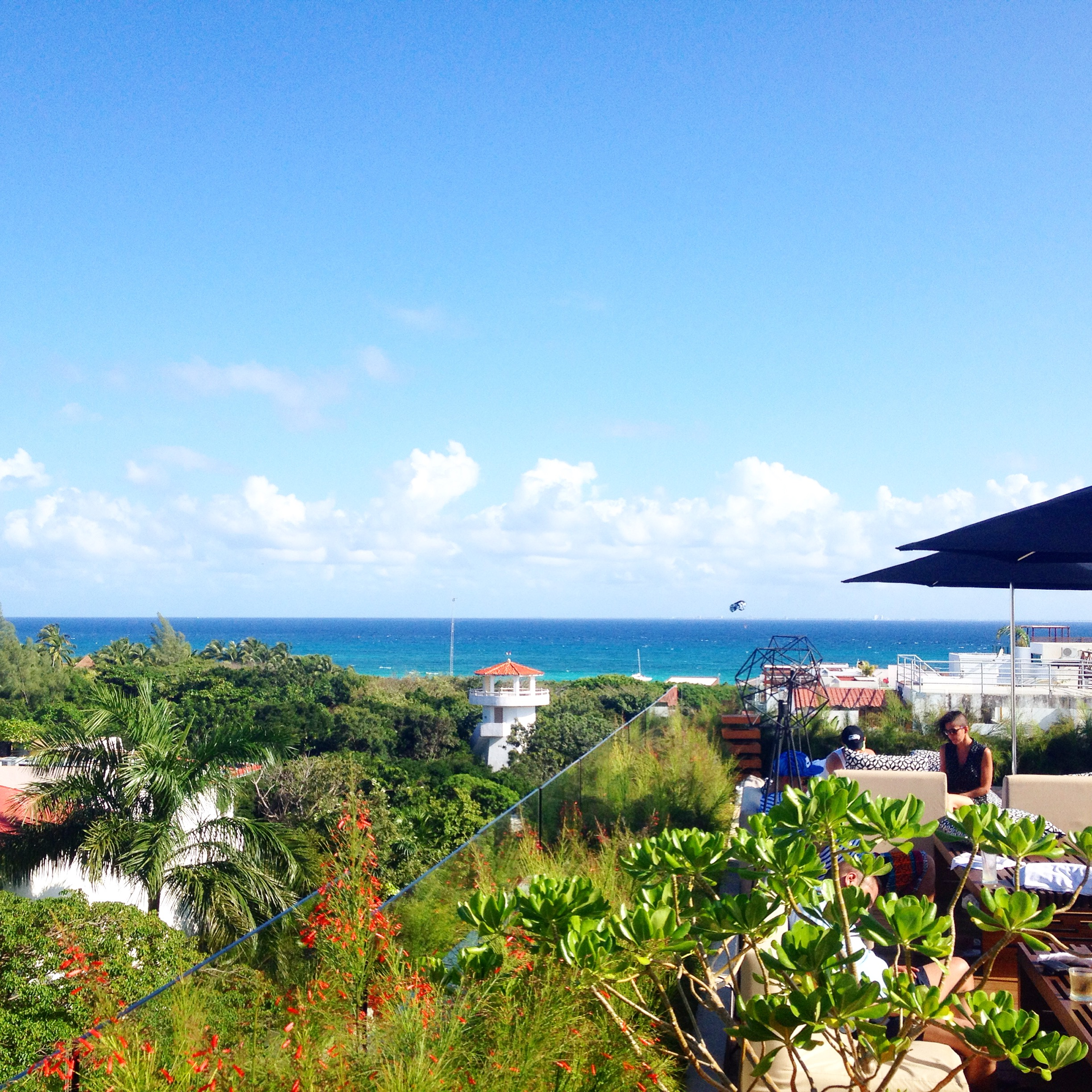 The view from our hotel rooftop in Playa del Carmen. We stayed at the beautiful Hotel Cacao.