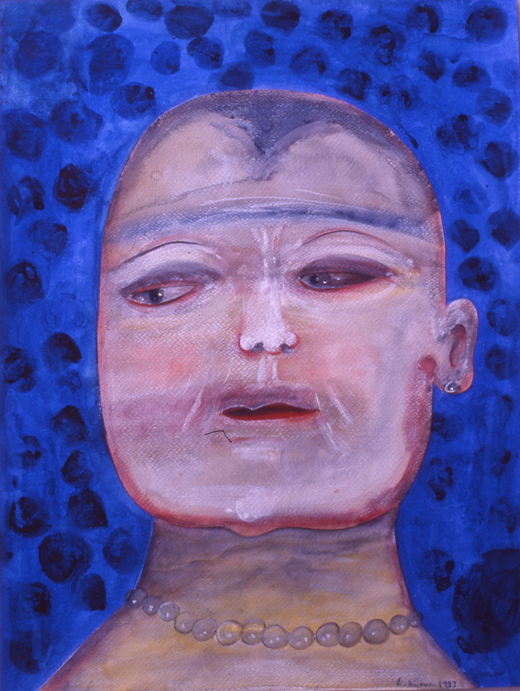 """Blue Face,  watercolor, collaged,  30""""x 22"""""""