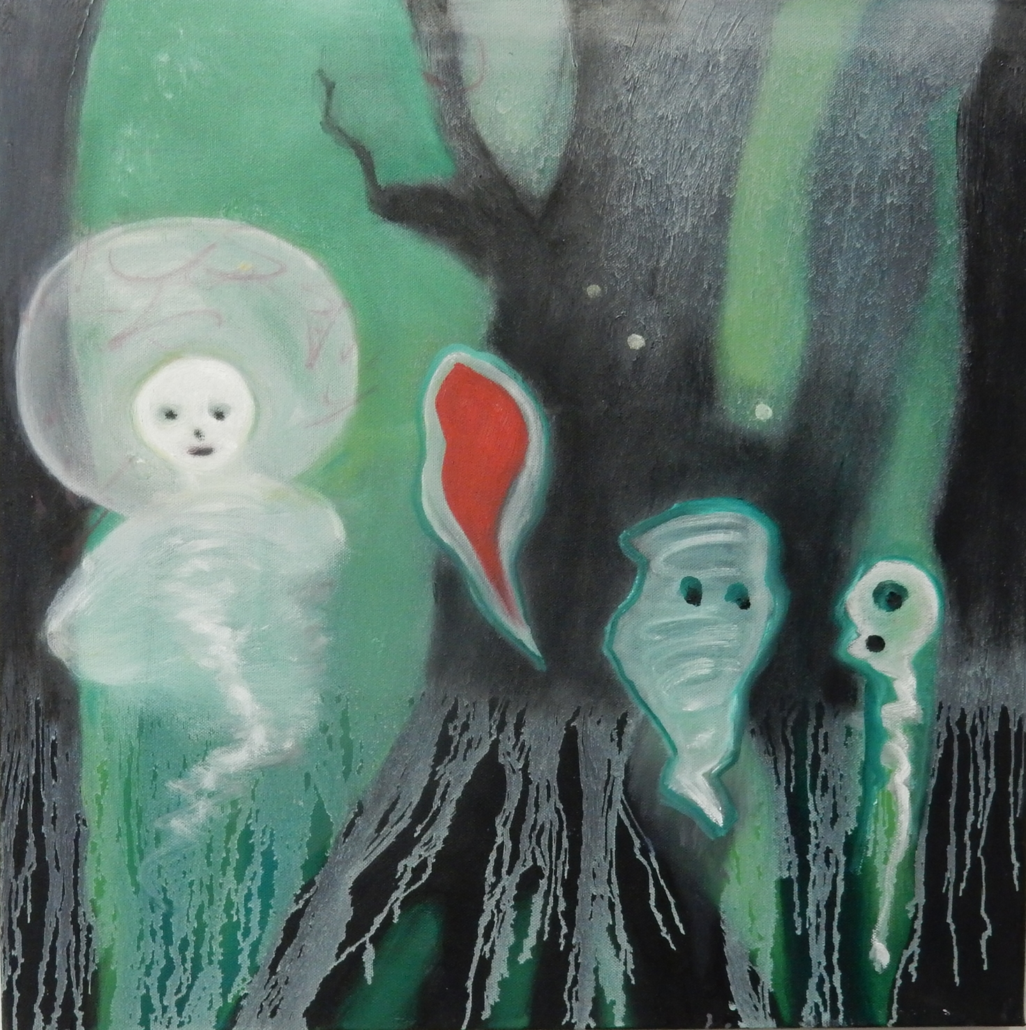 """Four Ghosts  20""""x 20"""""""