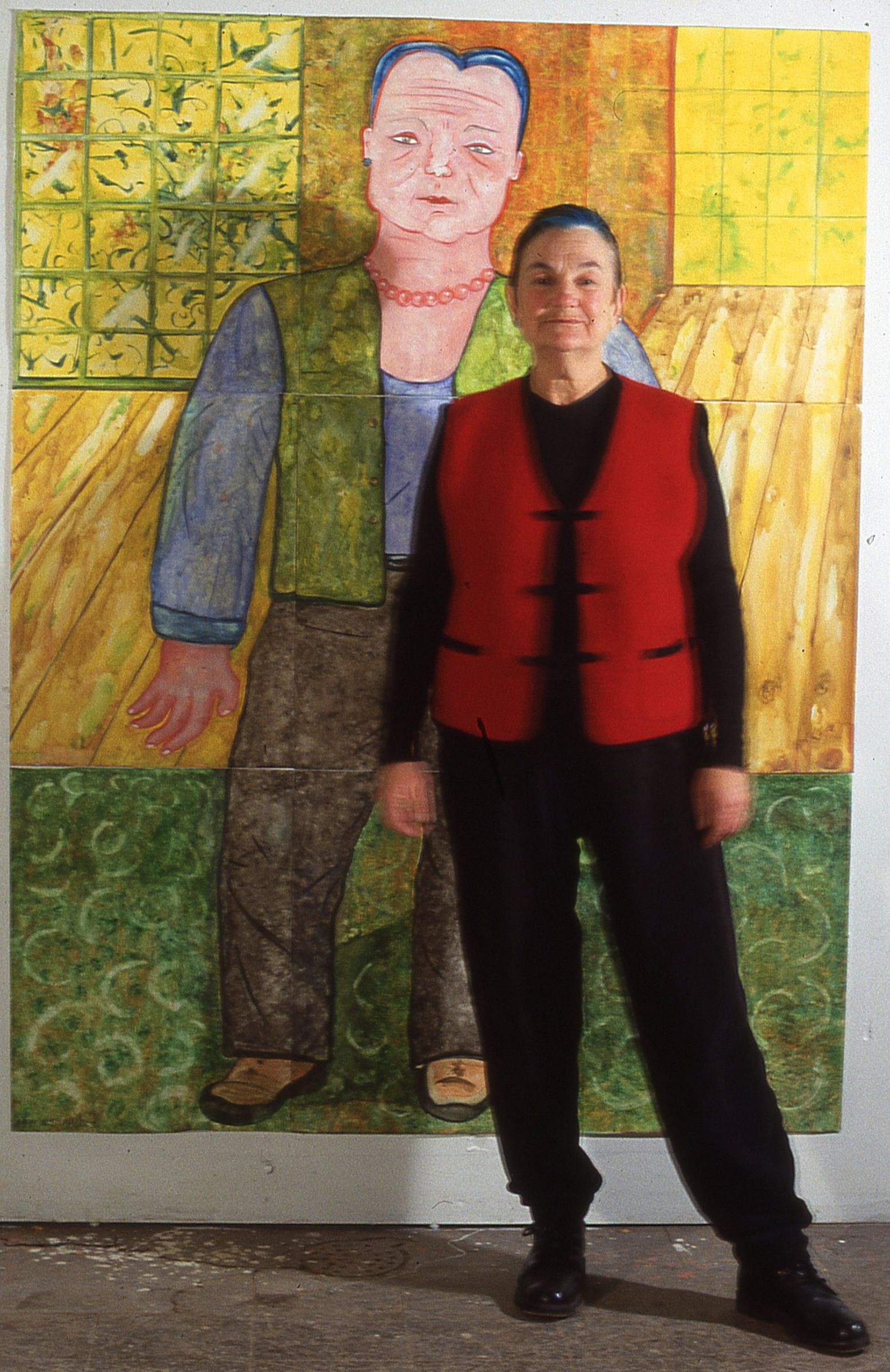 """Me in front of self portrait  60""""x 90"""""""