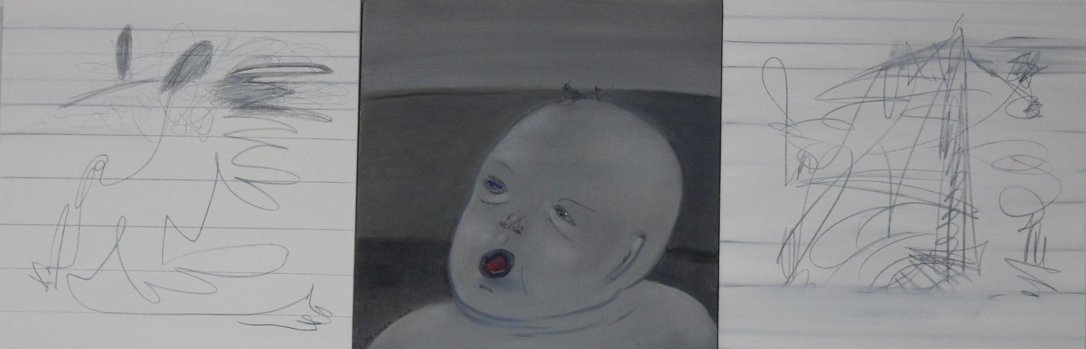 """Baby Face -  3 panels  20""""x60"""""""