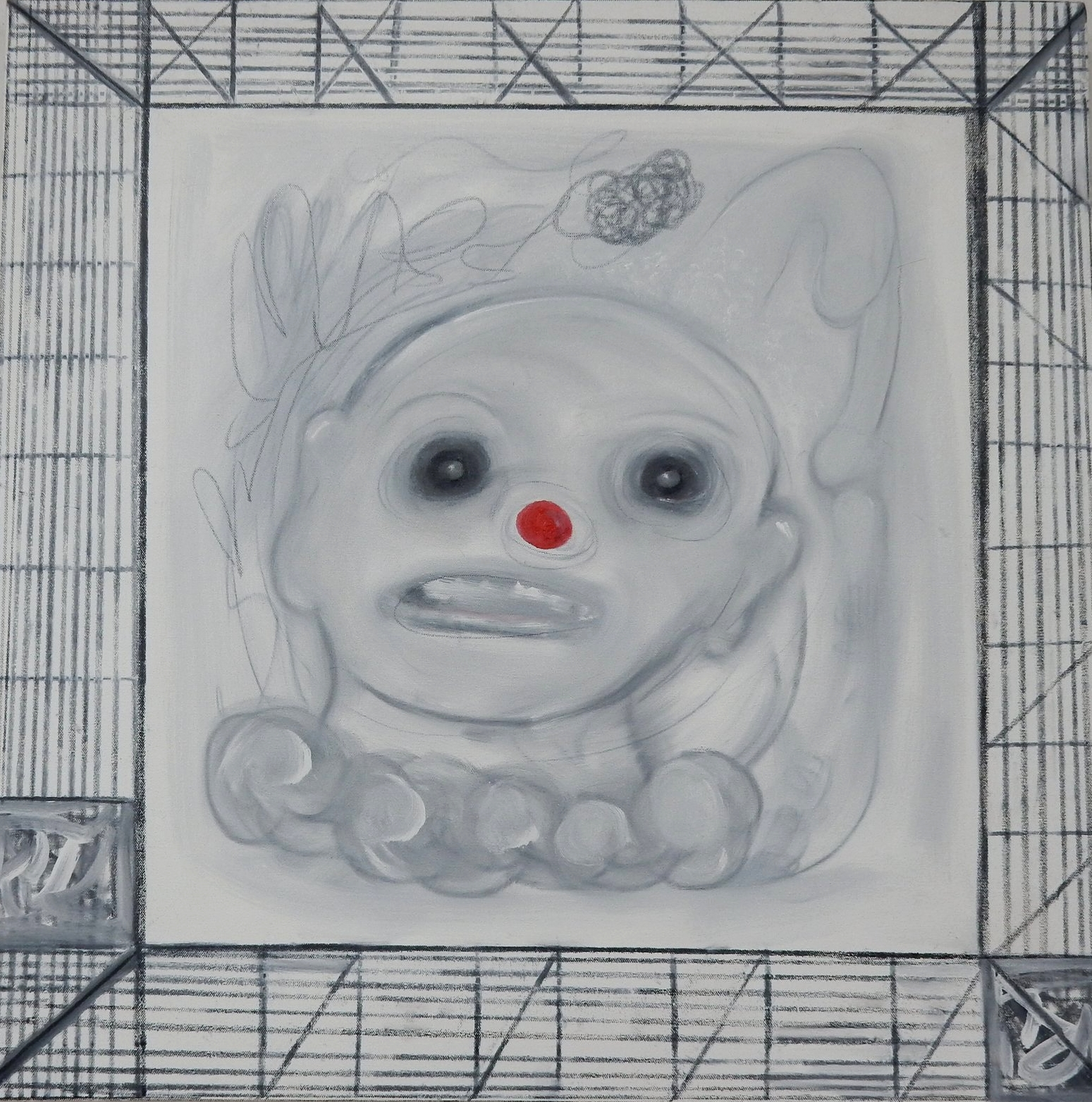 """Clown oil and graphite on canvas 30""""x30"""" 2018"""