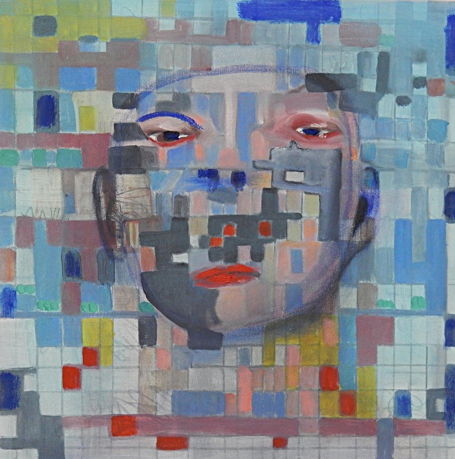 "Blue Face   20"" x 20  ""2017"