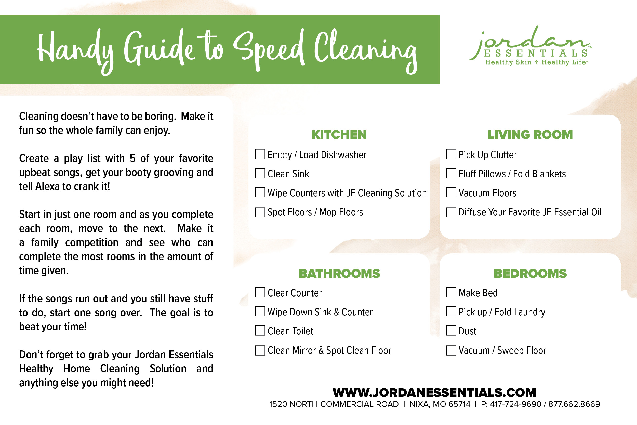Download JE's Speedy Cleaning Guide to gain your saturdays back!