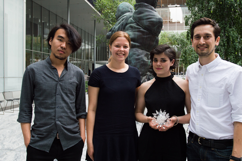 Winning FIT team with their prize, the glass microbe.