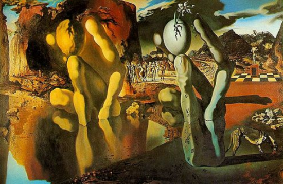 Ok, Dali, right on,it's Narcissus looking at himself, then he turns into stone with ants crawling all over him. Cool, I get it.