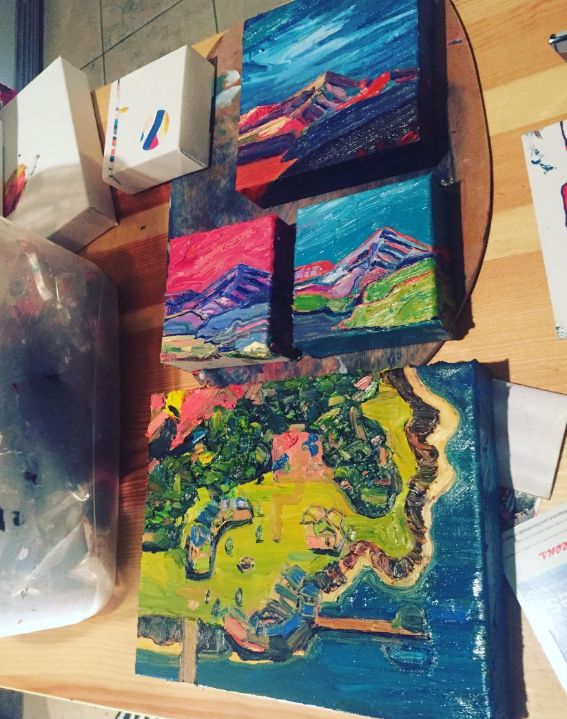 Lots of mountains were painted, and ... the Chrono Trigger World Map