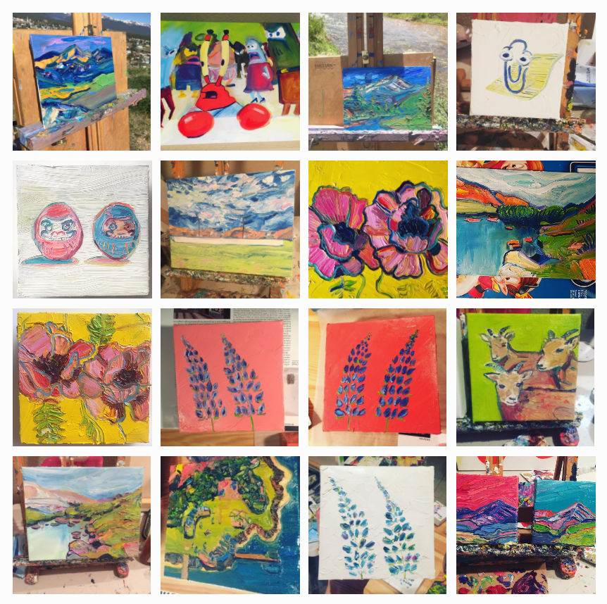 Just some of the paintings I have made this year, almost all of which I have sent away for sales.(I will probably never sell the Mr. Krabs painting.) It's important to keep track of progress even when you aren't surrounded by your work.