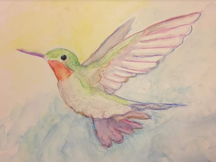 Watercolor on Yupo paper  9 x 12