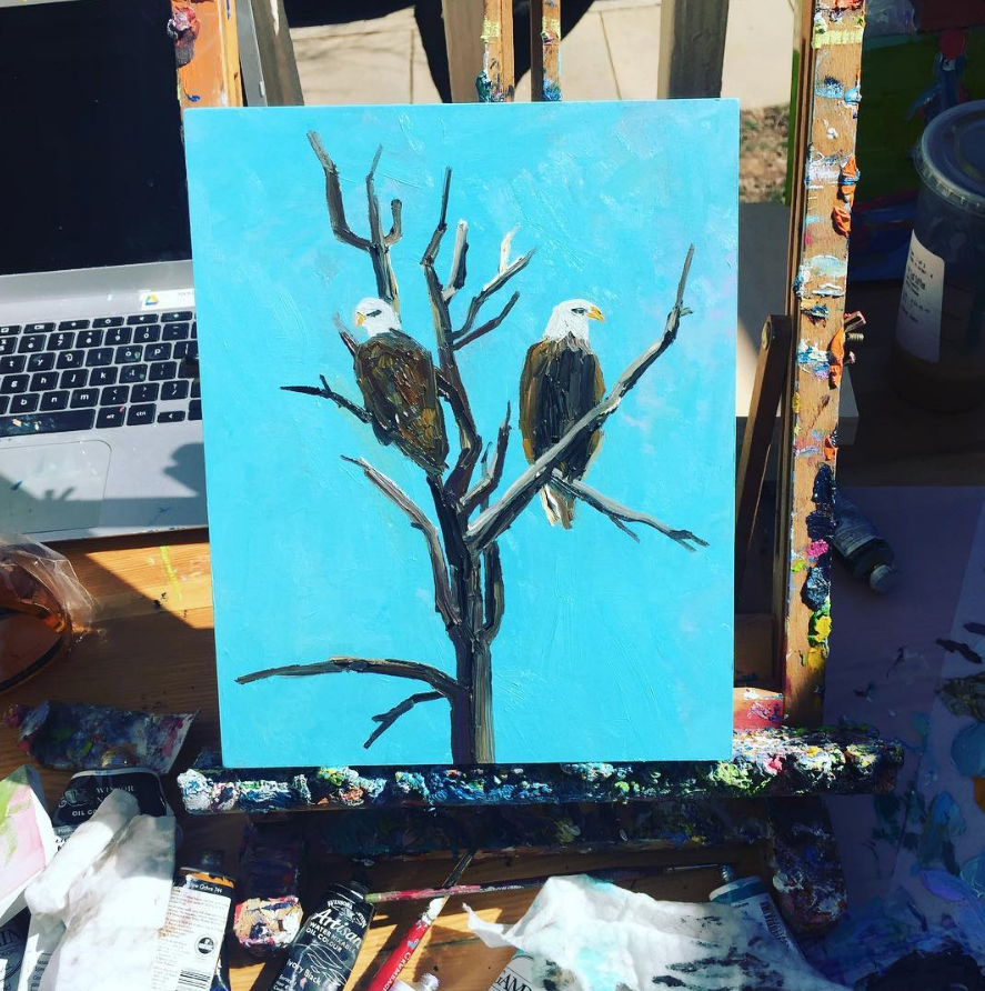 It was a nice sunny day for painting cool eagles on March 18th