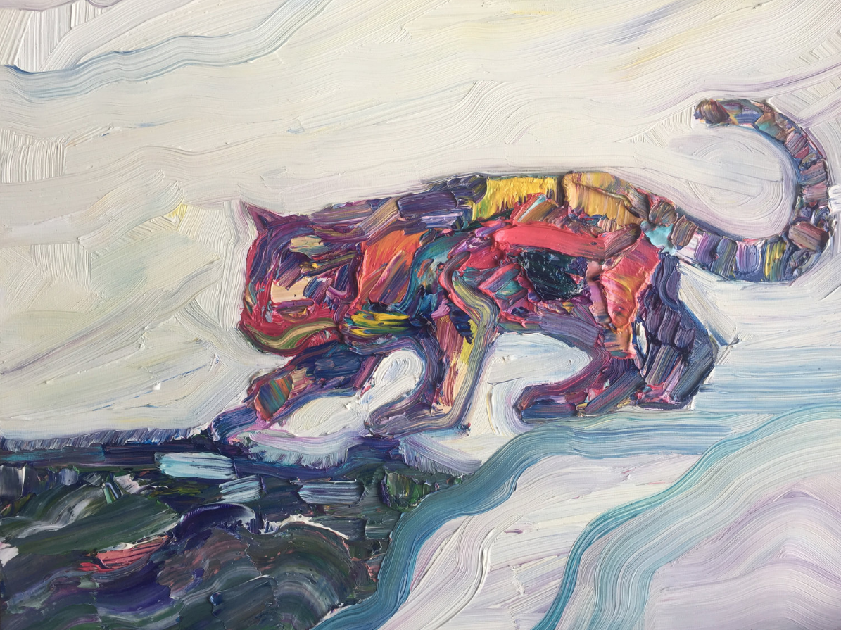 cat and koi pond becky jewell oil painting.png