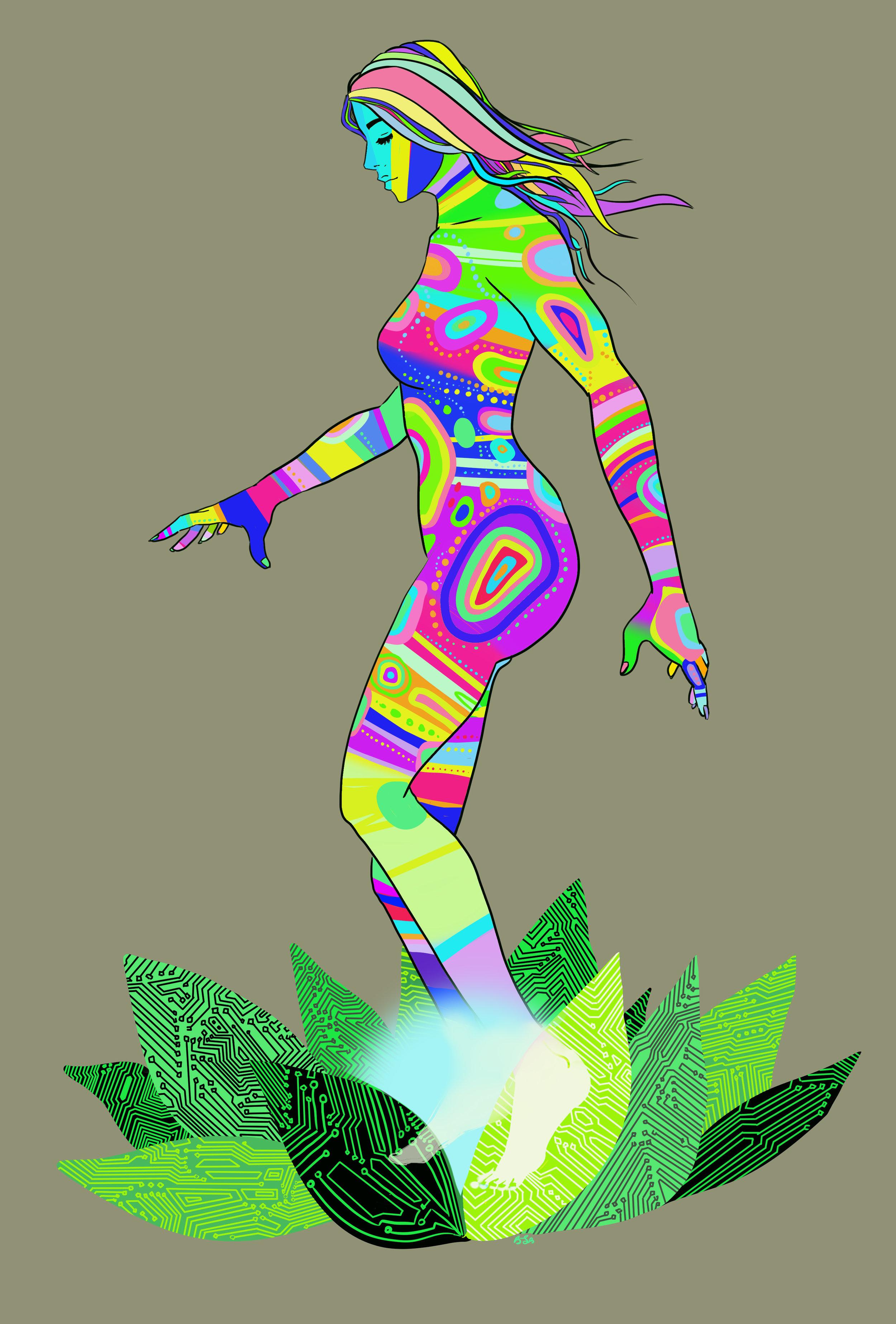 grey woman green lotus tilted sun comic becky jewell artist.jpg