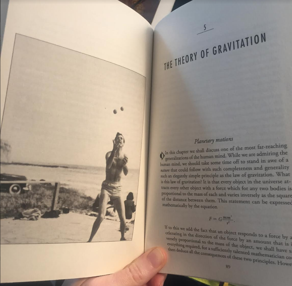 Richard Feynman juggling is a nice photo to accompany the chapter on The Theory of Gravitation