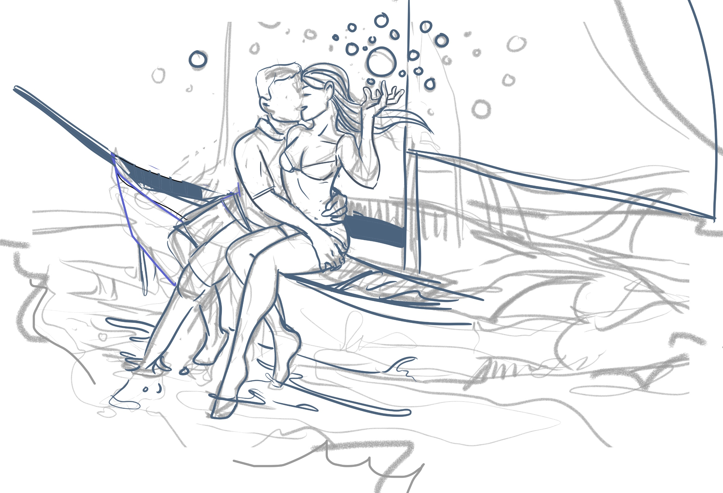 "I definitely had to actively give no fucks when I sketched this romantic sailboat scene. There was a nagging part of me that was trying to give too many fucks, saying: ""Why are they on a sailboat? That's not how a sailboat works! Why is she controlling orbs? What?"""
