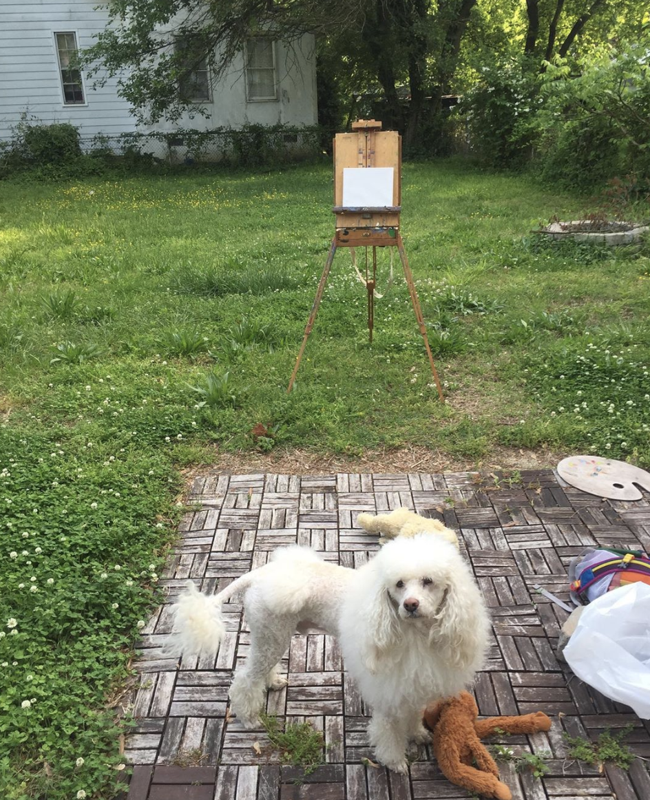 Julian Easel and poodle.png