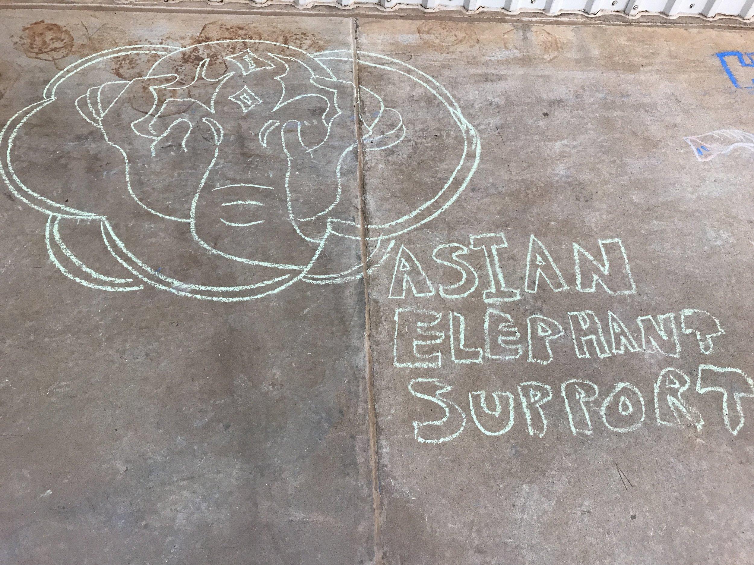 Our logo hand drawn in sidewalk chalk